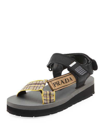 Plaid Sport Knit Sandals