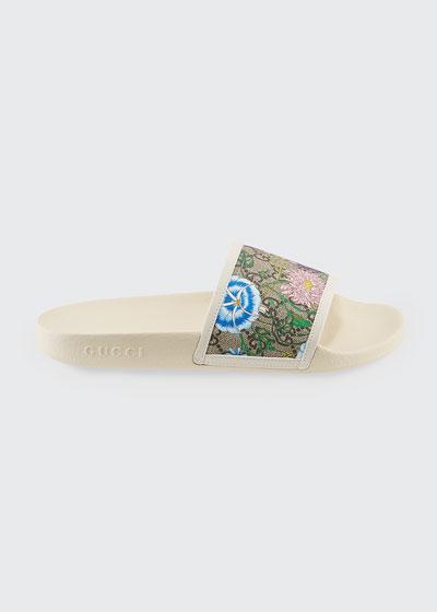 Pursuit Flat Flora Canvas Slide Sandals