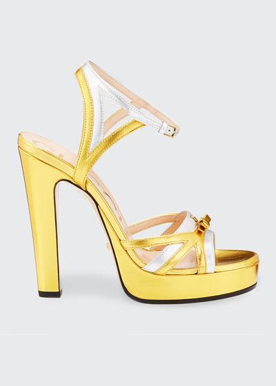 Alison 105mm Metallic Leather Platform Sandals