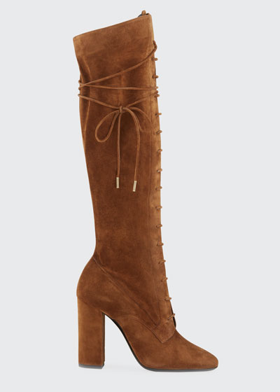 Laura Lace-Up Suede Knee Boots