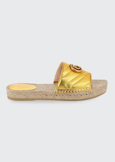 Pilar Flat Metallic Espadrille Slide Sandals