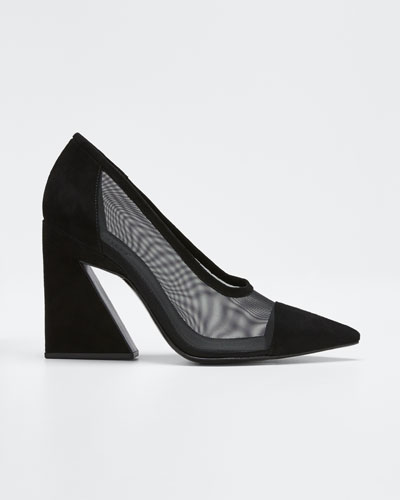 Anthea Mesh and Suede Pumps