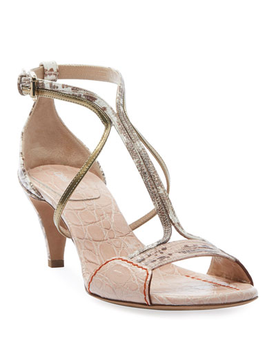 Carla Heeled Embossed Exotic Sandals