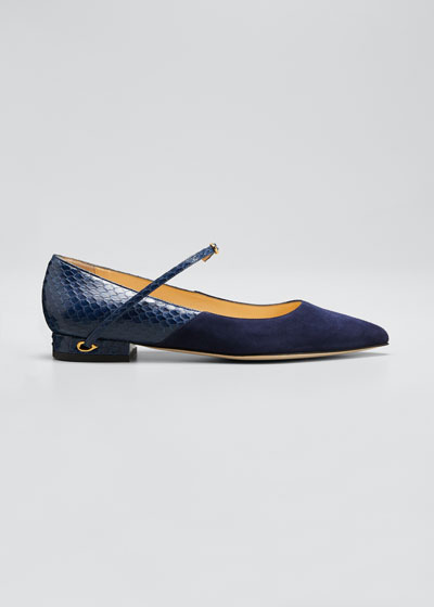 Lorenzo Suede & Snakeskin Point-Toe Flats