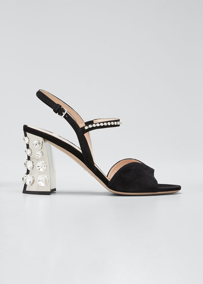 85mm Suede Mirrored-Heel Sandals