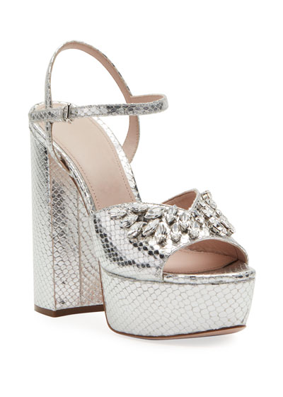 Metallic Crystal Platform Sandals