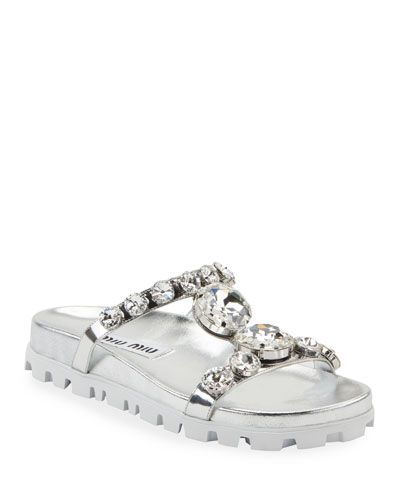 Crystal Metallic Slide Sandals