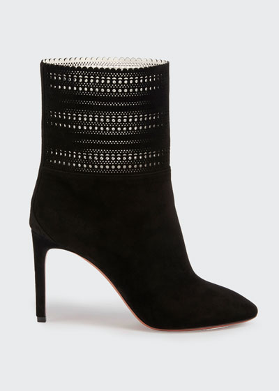 Lazer Cut Suede Ankle Booties