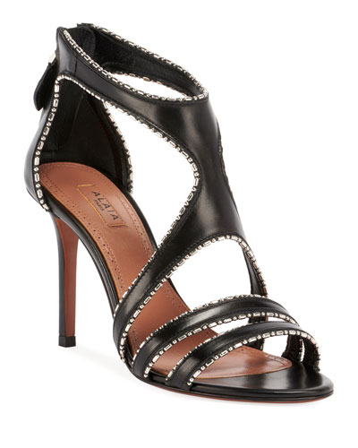 Leather & Metal Stiletto Sandals