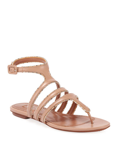 Leather Beaded Caged Sandals