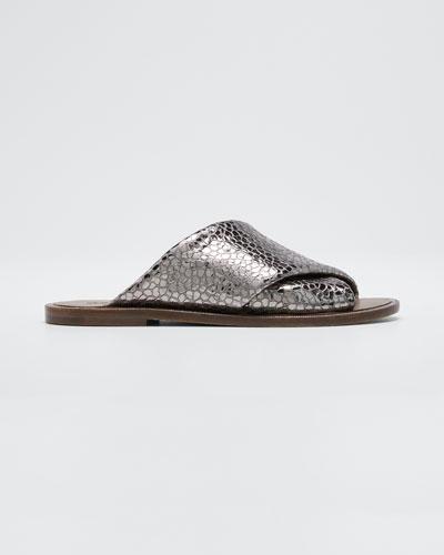 Flat Textured Leather Slide Sandals