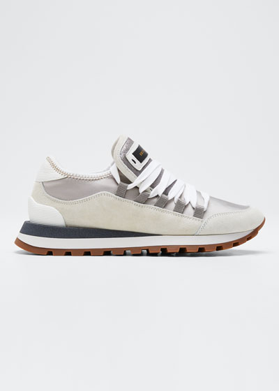 Suede and Satin Runner Sneakers