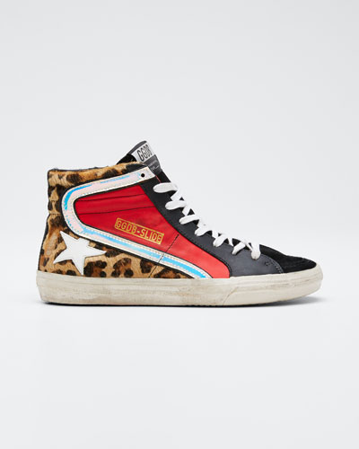 Leopard Star High-Top Sneakers