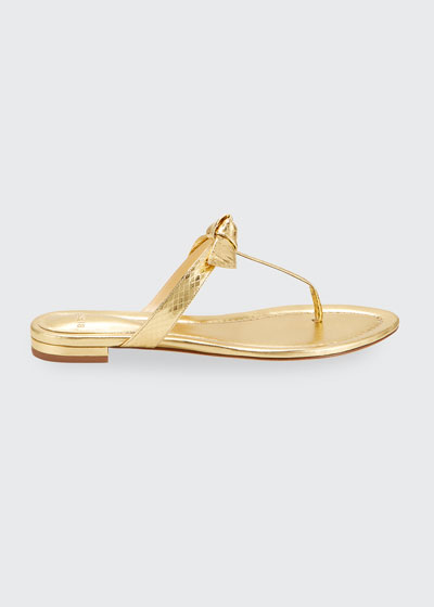 Clarita Naked Flat Watersnake T-Strap Sandals