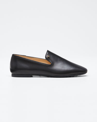 Leather Rubber-Sole Loafers