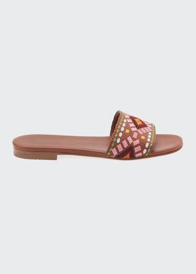 Embroidered Flat Slide Sandals