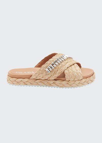 Flat Jeweled Raffia Slide Sandals