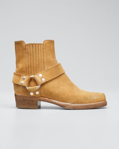 Short Cavalry Suede Harness Boots
