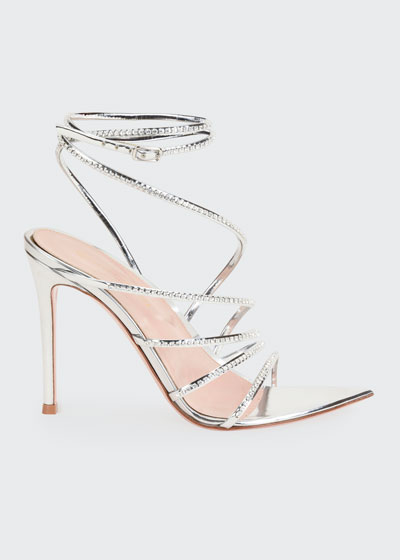 105mm Metallic Strappy Sandals