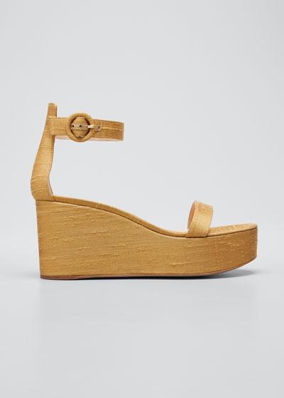 Ankle-Strap Shatung Platform Wedge Sandals