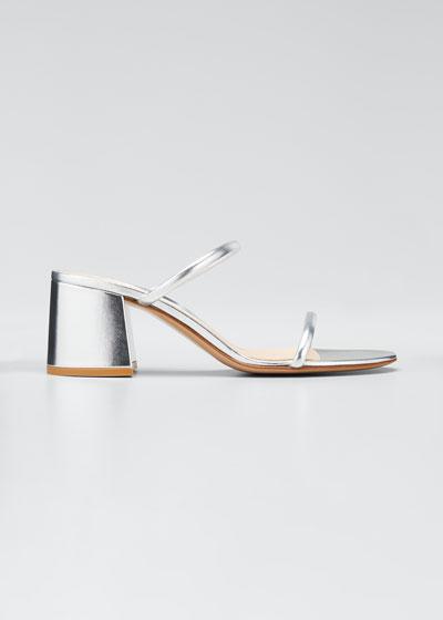 60mm Metallic Leather Block-Heel 2-Strap Slide Sandals