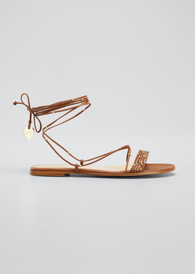 Beaded Ankle-Wrap Flat Sandals