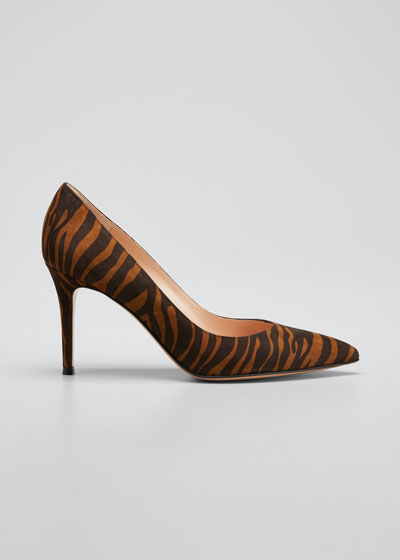 Gianvito 85mm Zebra Suede Point-Toe Pumps
