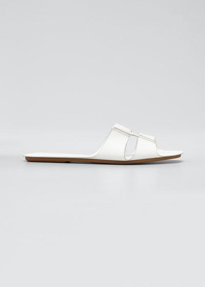 Leather Flat Slide Sandals