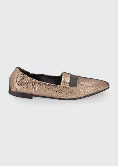 Metallic Texture Monili Ballet Flats