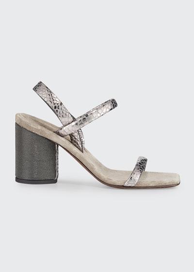 80mm Metallic Textured Leather Sandals