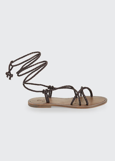 Braided Leather Wrap Sandals