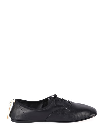Soft Leather Derby Flats, Black