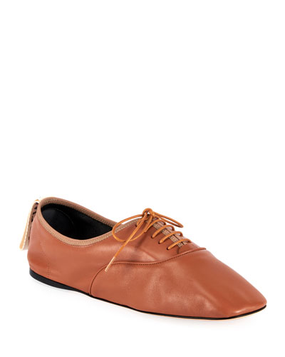 Soft Leather Derby Flats, Brown
