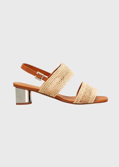 Leane Raffia Metallic-Heel Sandals