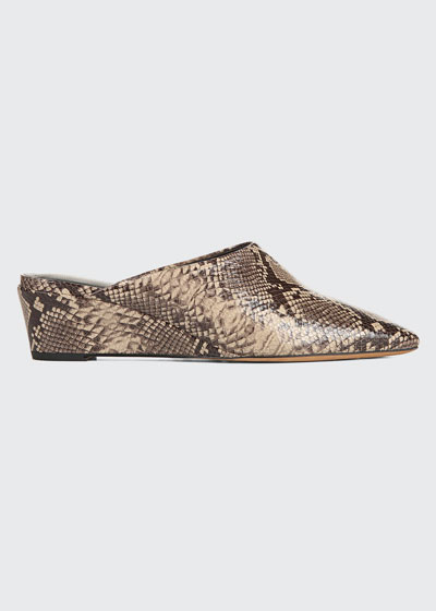 Baxley Snake-Print Leather Wedge Mules