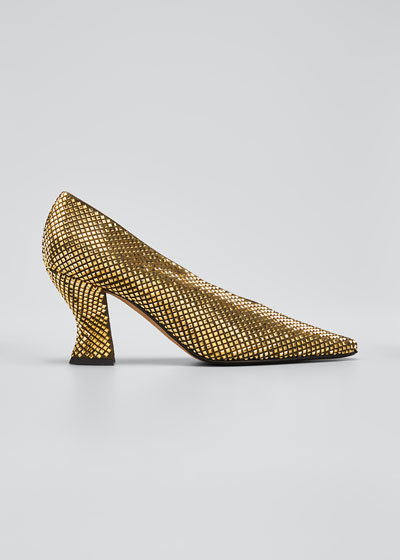 U Metallic Chunky-Heel Pumps