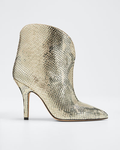 Metallic Python-Print Heeled Ankle Boots
