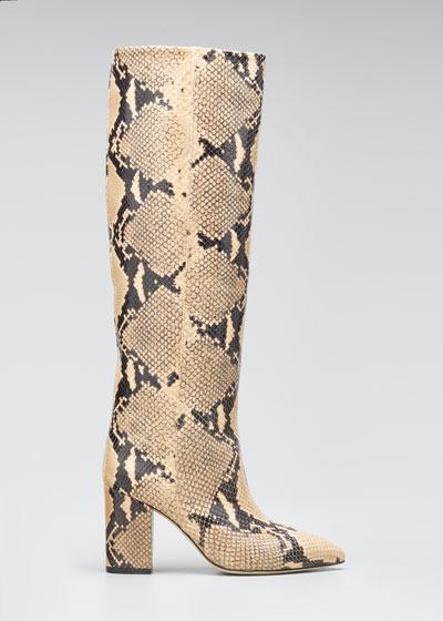 Python-Print Leather Boots