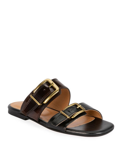 Two-Strap Flat Slide Sandals