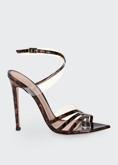 Crisscross Leopard-Print Patent Stiletto Sandals