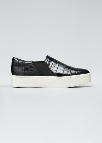 Warren Croc Embossed Leather Platform Skate Sneakers