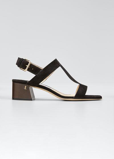 Jin Suede Block-Heel Sandals