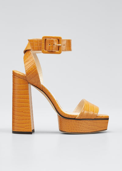 Jax Mock-Croc Platform Sandals