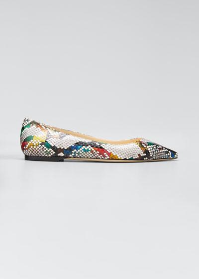 Romy Elaphe Snake Ballerina Flats