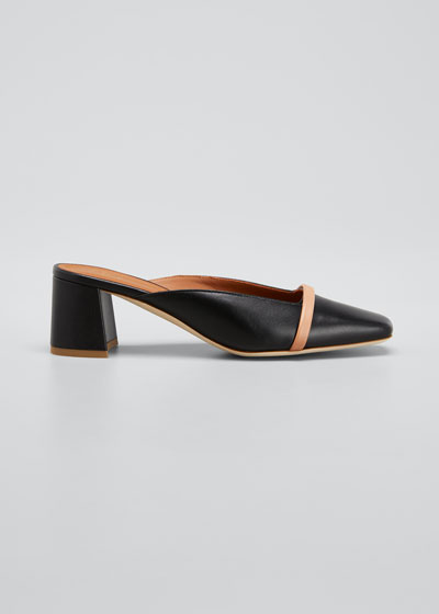 Carmen 45mm Napa Leather Square-Toe Mules