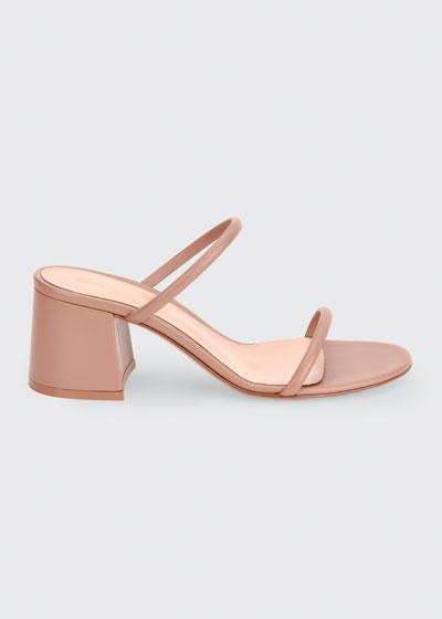 60mm Leather Block-Heel 2-Strap Slide Sandals