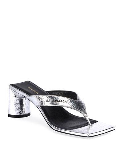 Crinkled Metallic Slide Sandals