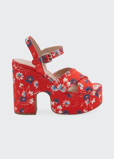 125mm Platform Floral Ankle-Strap Sandals