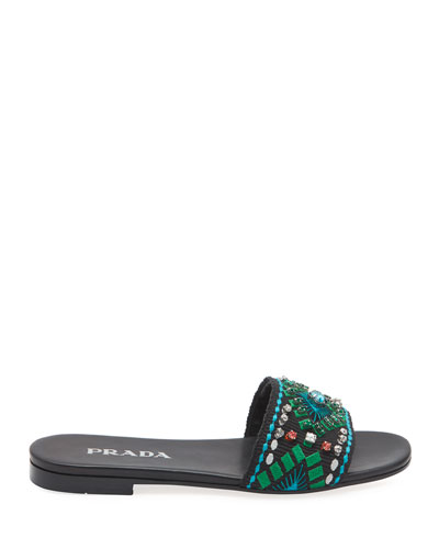 Flat Embroidered Jewel Slide Sandals