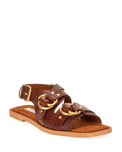 Faux Croc Flat Sandals